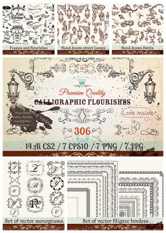 calligraphic flourishes with swirls vector  bundle