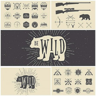 Retro hunting logo with bear vector set