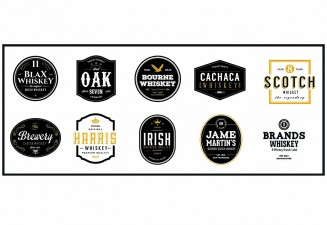 Whiskey logo and badges brand design collection