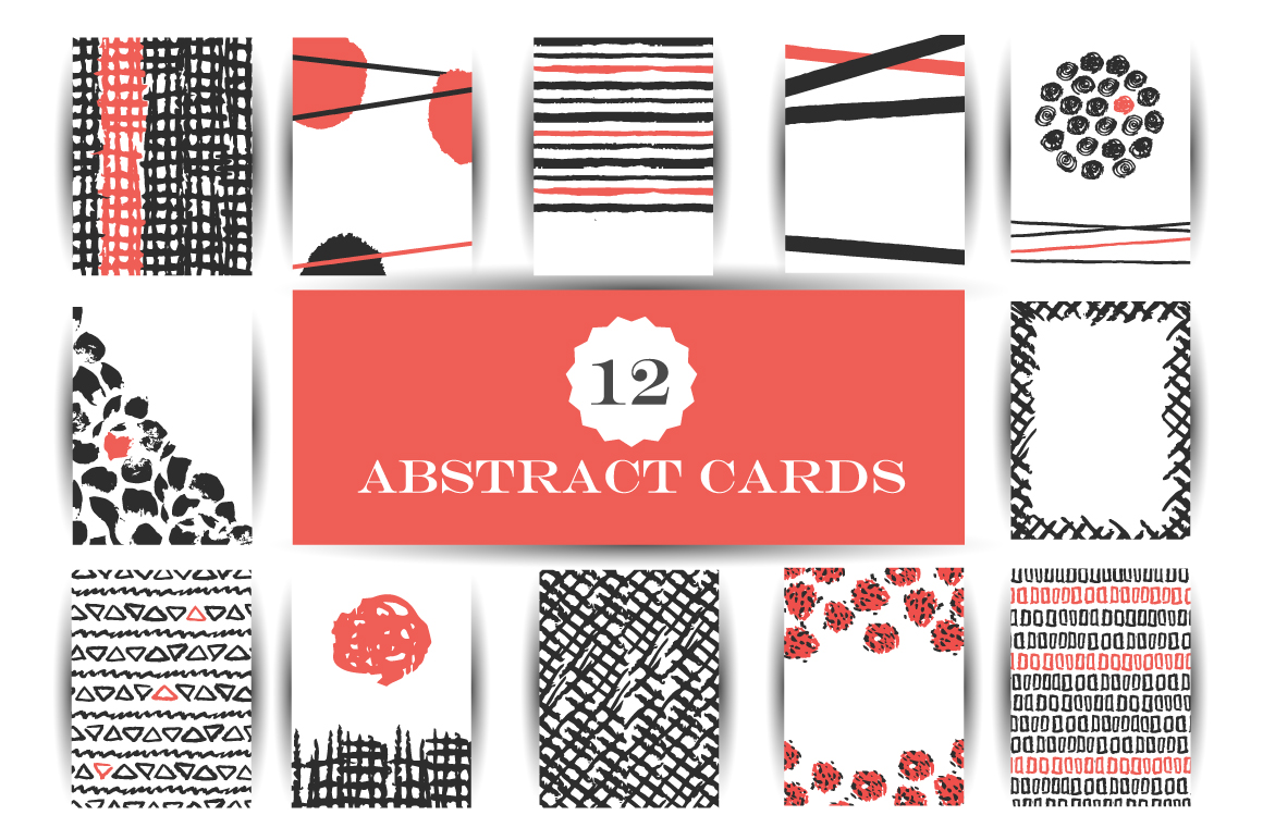 Abstract cards hand drawn vector set
