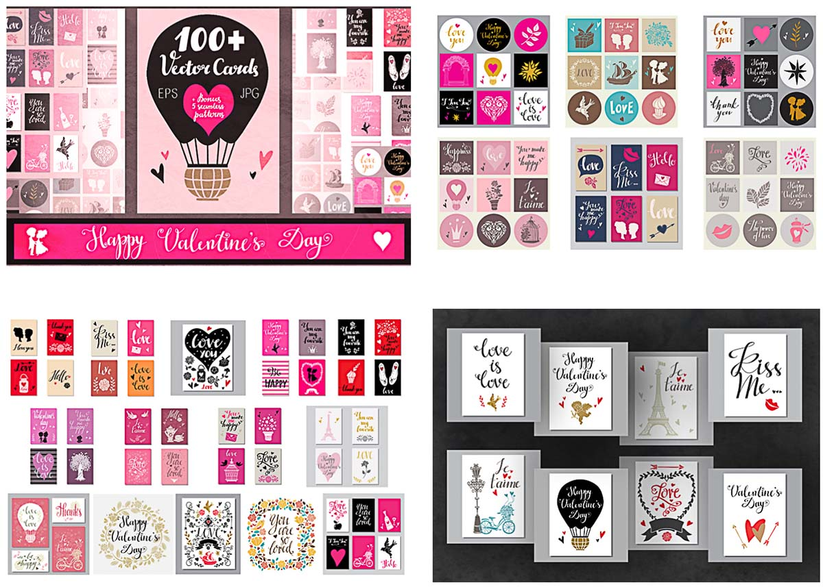 Valentine's day postcards collection vector