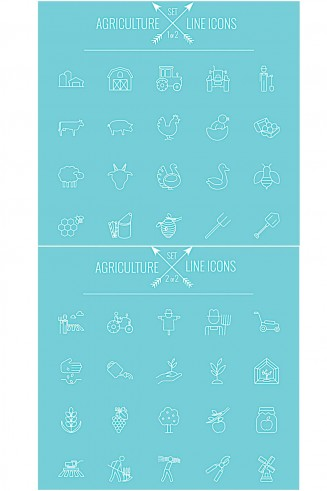 Agriculture clipart and icons vector set