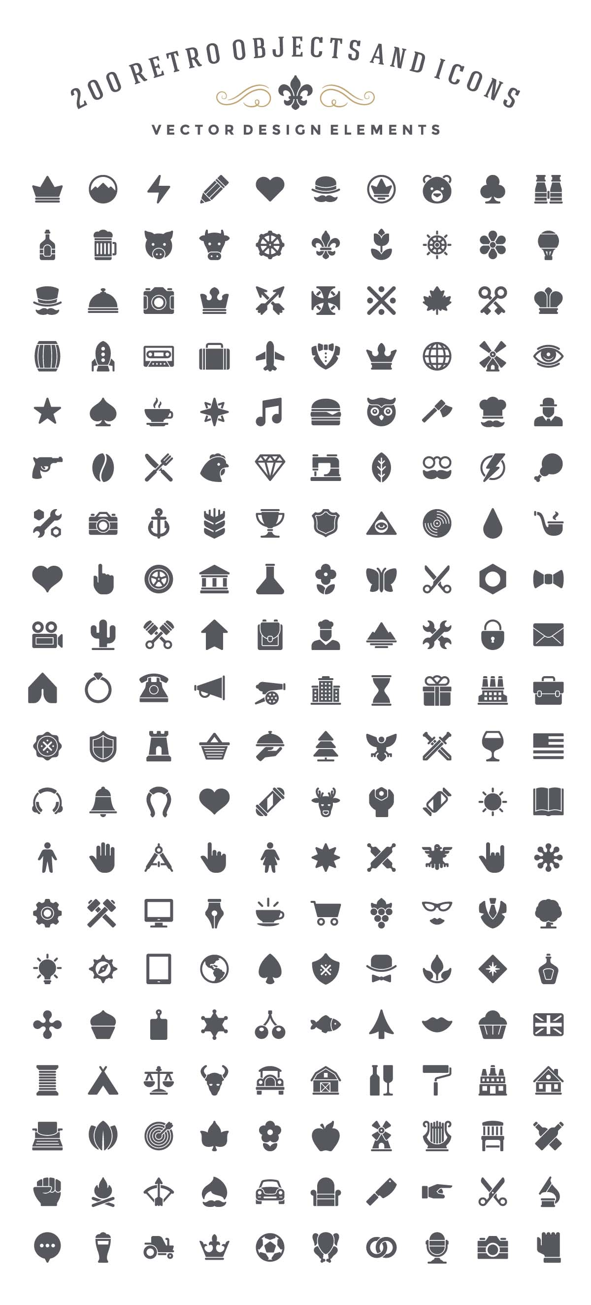 Retro objects and icons set vector