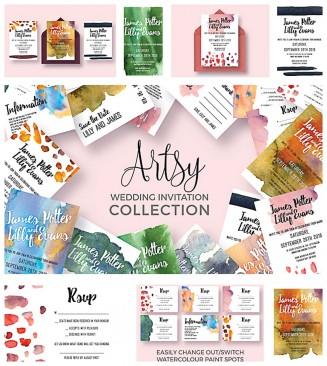 Colorful wedding invitation collection