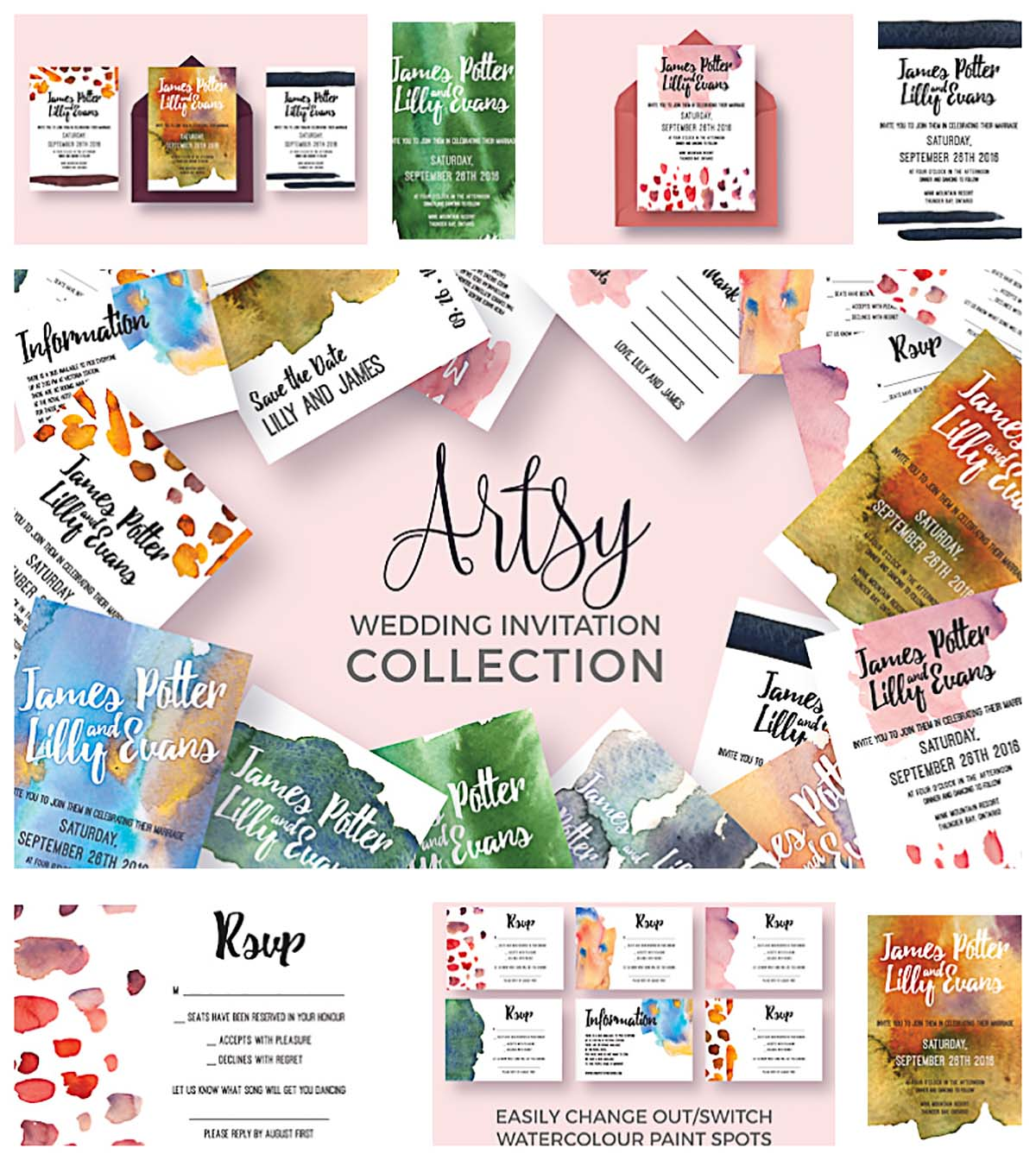 Colorful wedding invitation collection