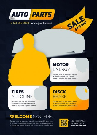 Auto parts editable flyer design