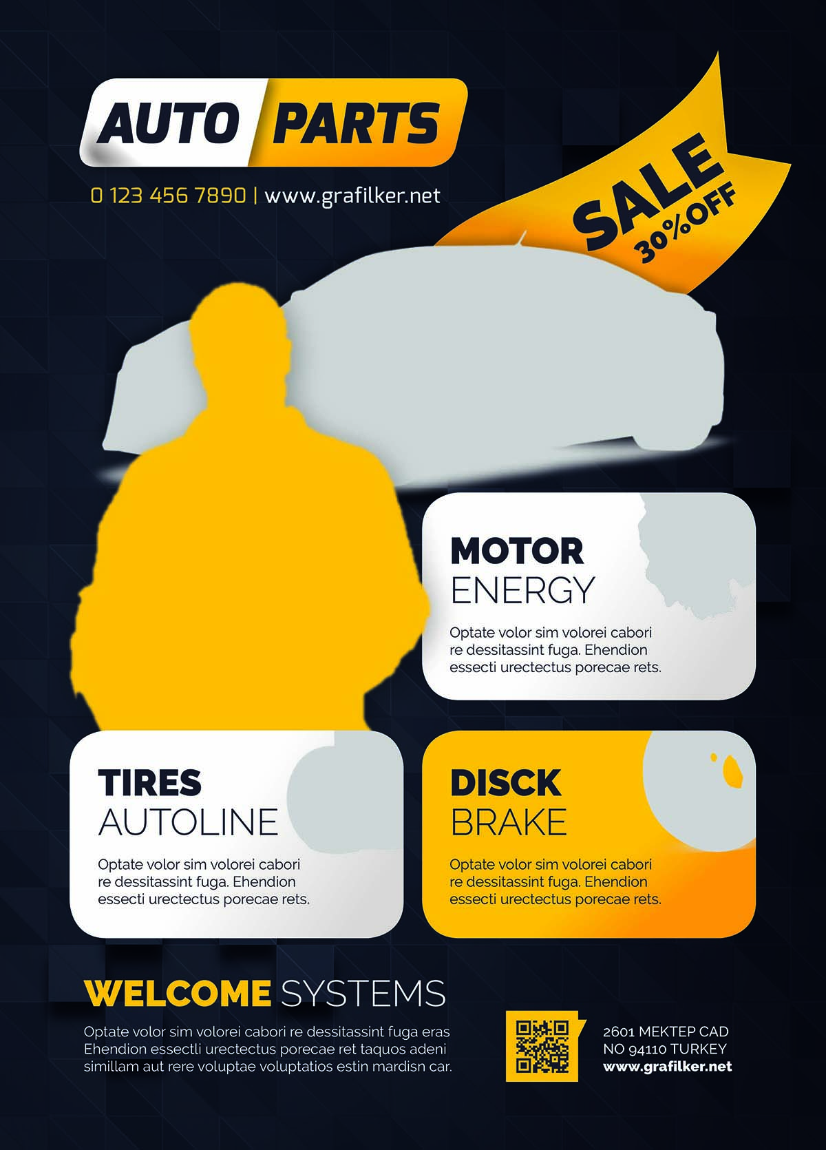 Auto spare parts flyer design | Free download