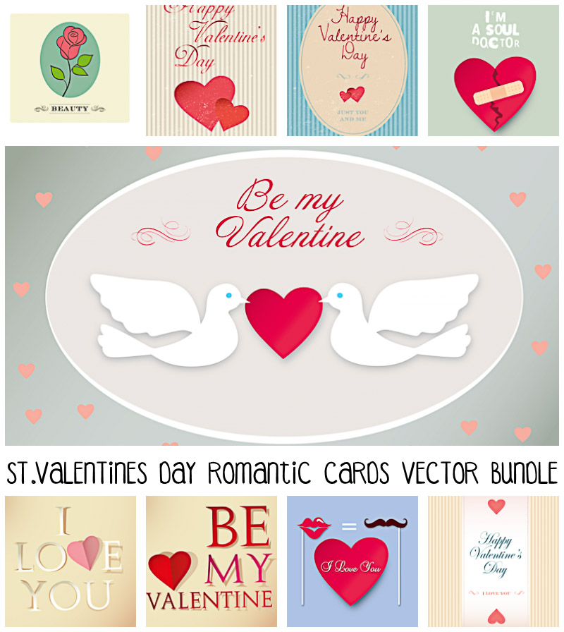 Elegant St. Valentine's Day postcards and elements set vector