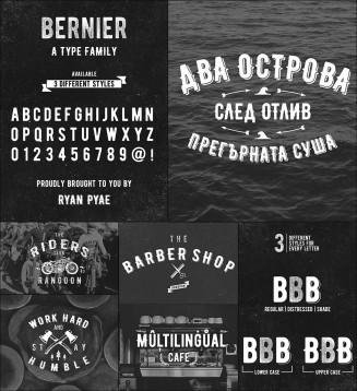 Bernier vintage font cyrillic and roman typeface