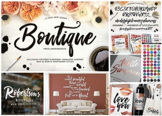 Boutique elegant script and font set