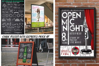 Poster on chalkboard with elements mock up