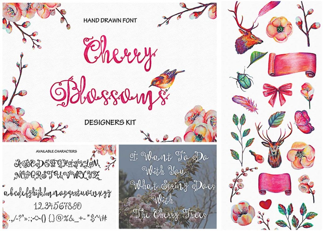Cherry Blossoms Hand Made Font With Elements Free Download