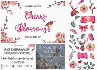 Cherry blossoms hand painted font set