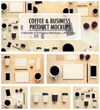 Coffee and business mockup branding product