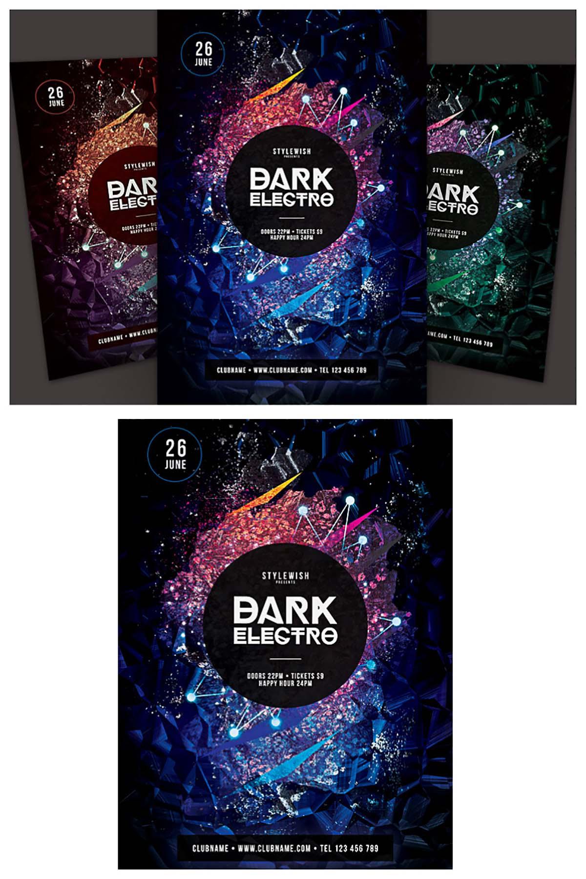 Dark electro party poster set