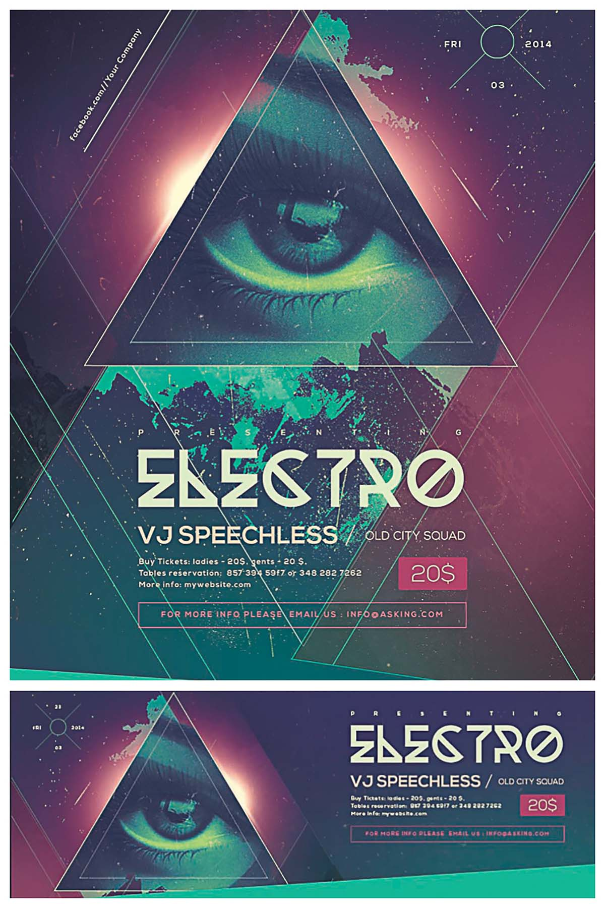 Electro club hipster eye poster and facebook cover set