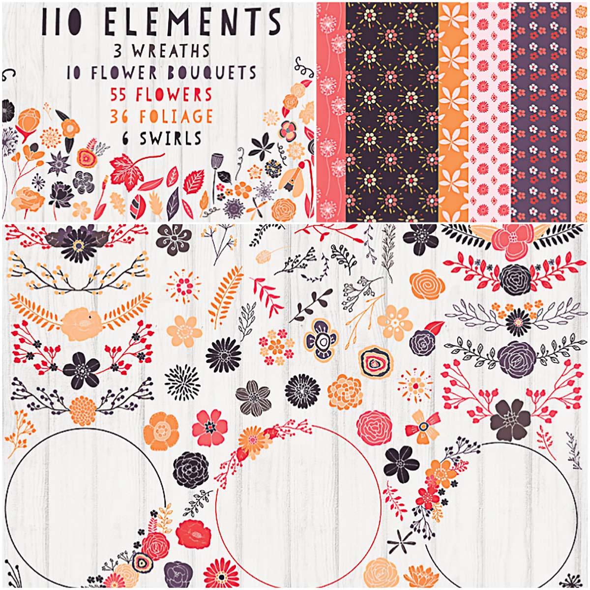 Floral clipart and patterns beautiful bundle set