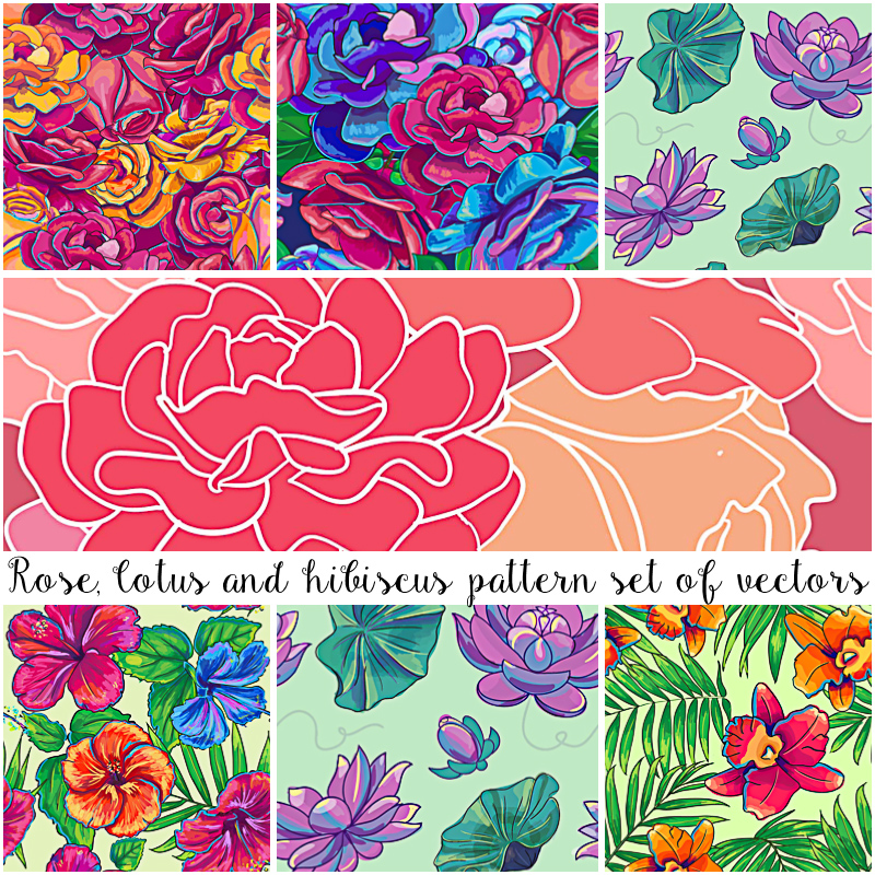 Floral pattern with hibiskus and lotus flowers vector collection