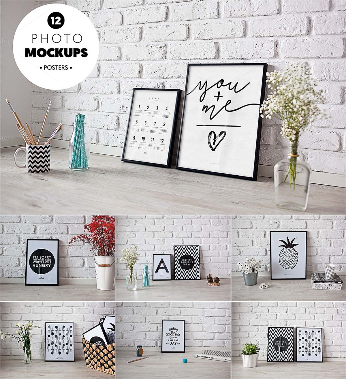 Frames poster photo mockup set