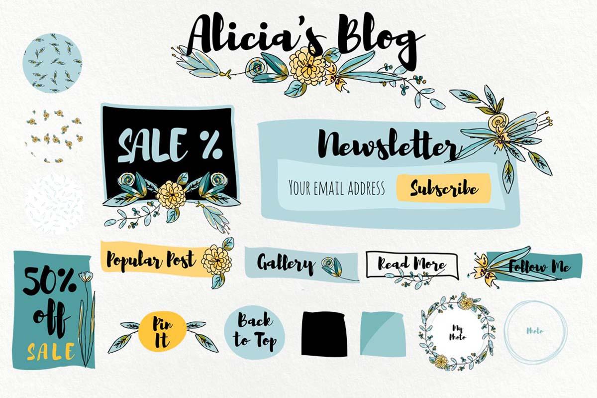 Blog kit elements girly set