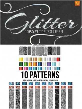 Glitter pattern and texture vector set