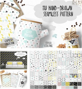 110 Hand drawn seamless patterns collection