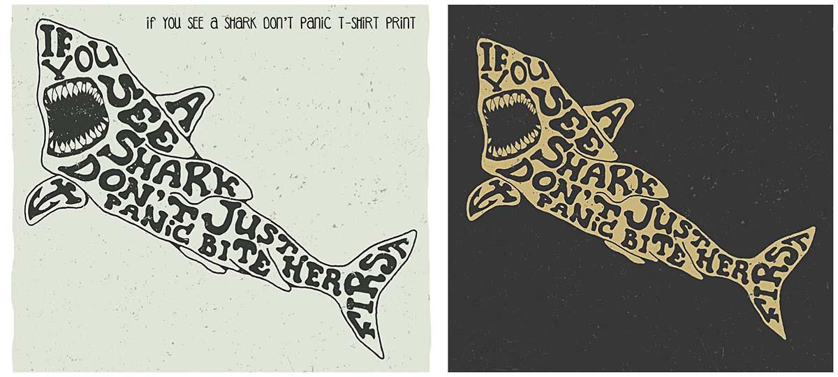 Shark funny T-Shirt print design vector