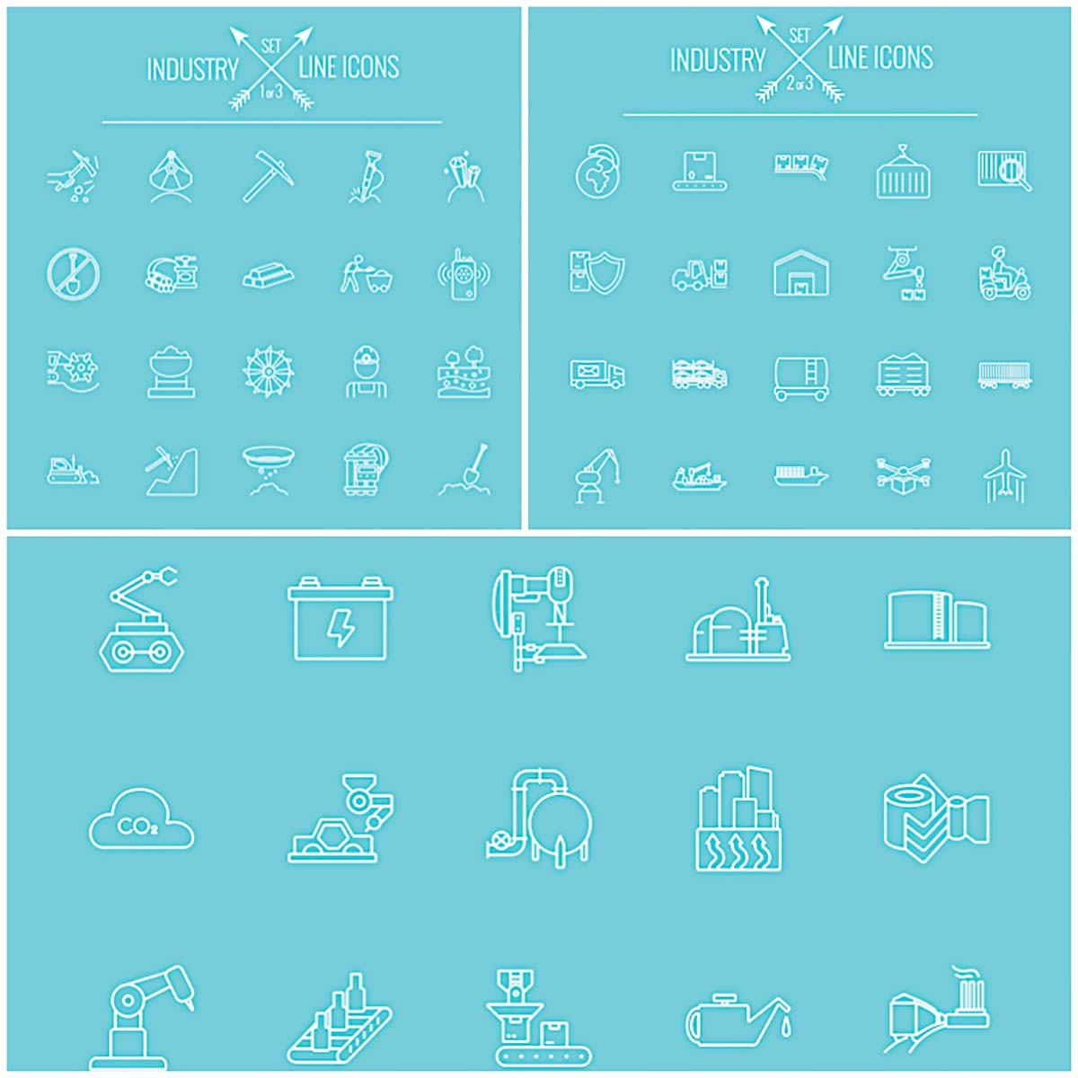 Industry line icon set of vectors