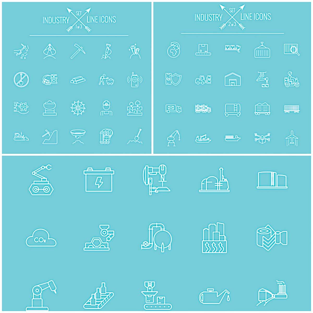 Industry line icon set of vectors