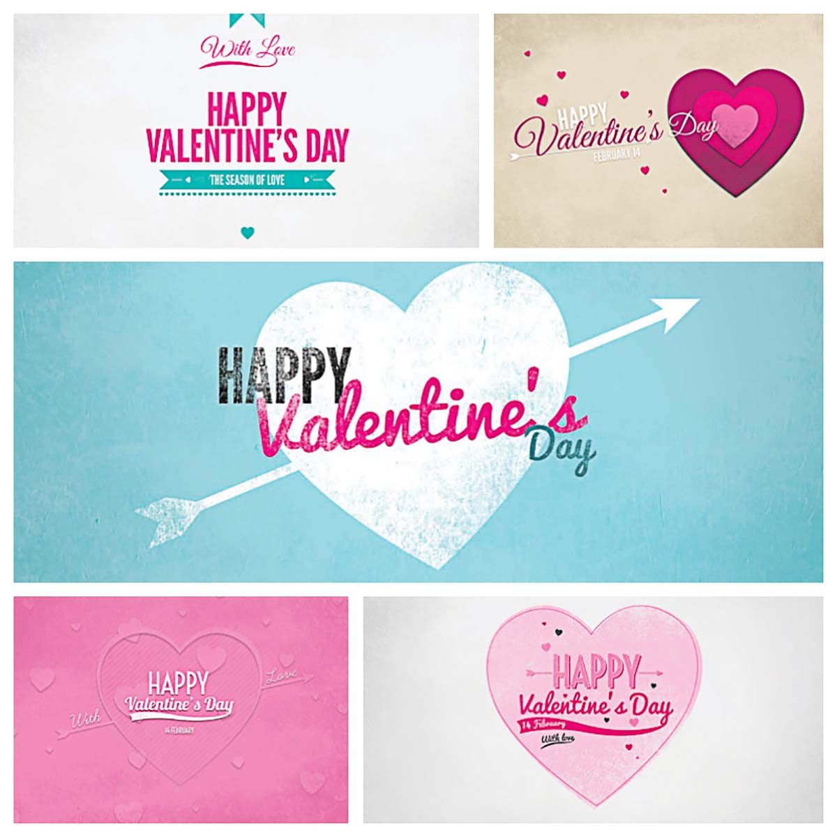 Valentine's Day lovely postcards with paper hearts collection