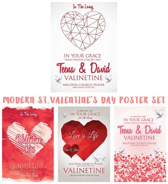 Modern Valentine's day poster with geometric hearts collection