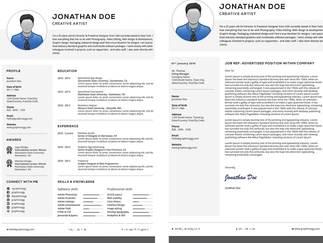 Professional resume with cover letter set free download for Cv stands for cover letter