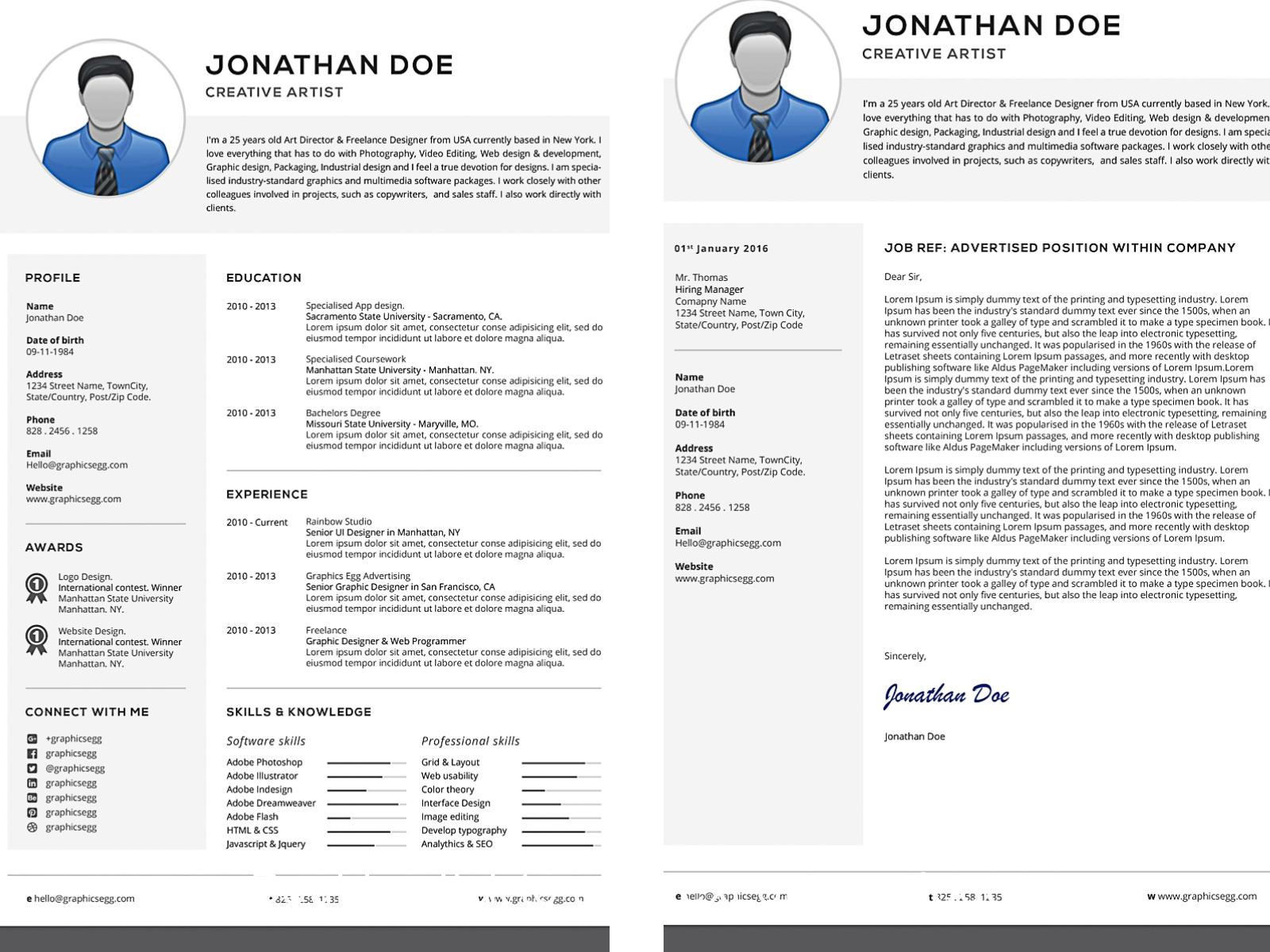 CV and cover letter professional set