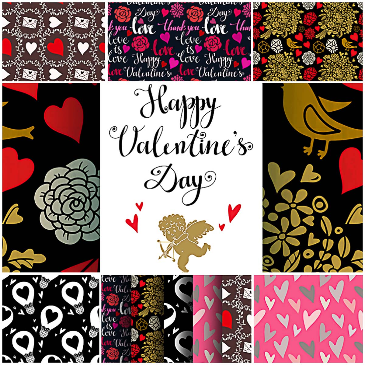 Valentine's day patterns and background romantic vector