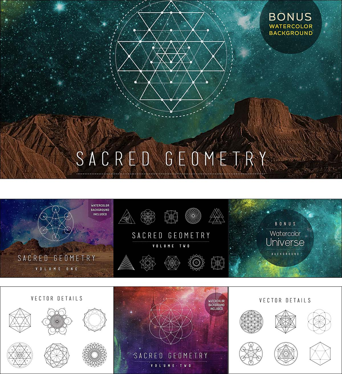 Sacred geometry vector set with universe background