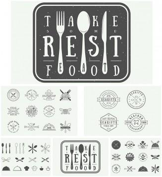 Vintage restaurant logos vector set