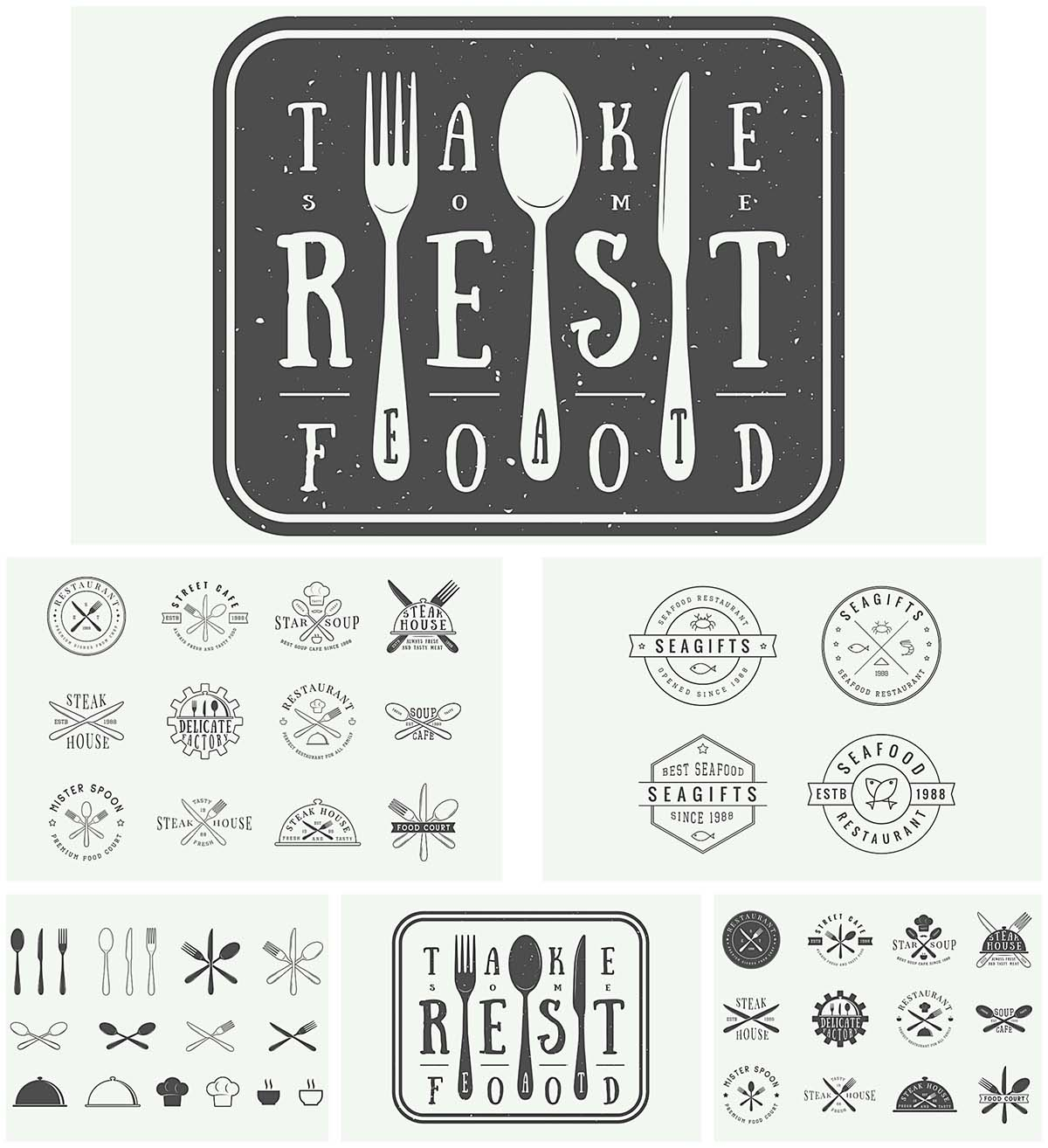 Vintage restaurant logos vector set
