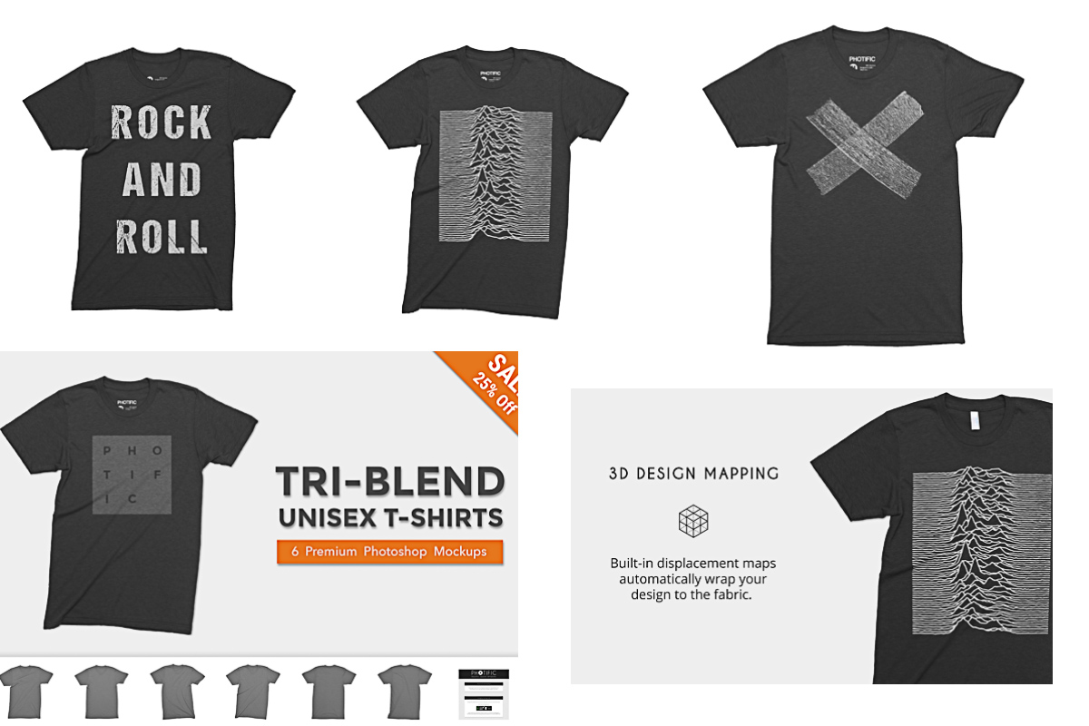 T-Shirt mockup Tri-blend set