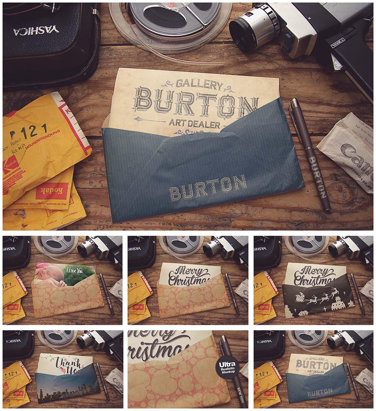 Retro envelopes mockup collection