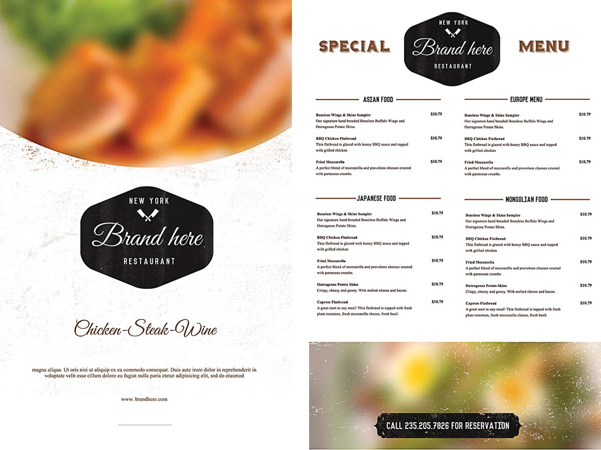 Free Food Menu Template Insssrenterprisesco - Menu brochure template free
