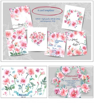 Watercolor roses floral cards set vector