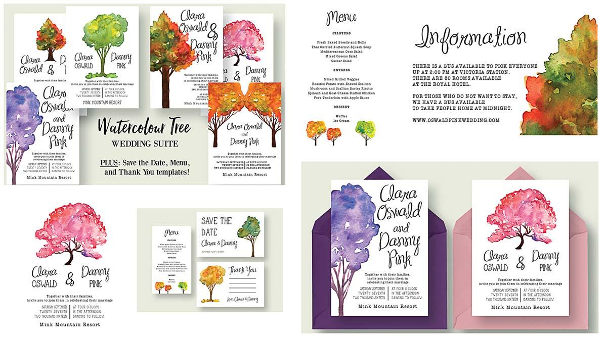 Watercolour tree wedding suite