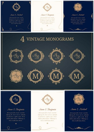 Wedding invitations with vintage monograms vector set