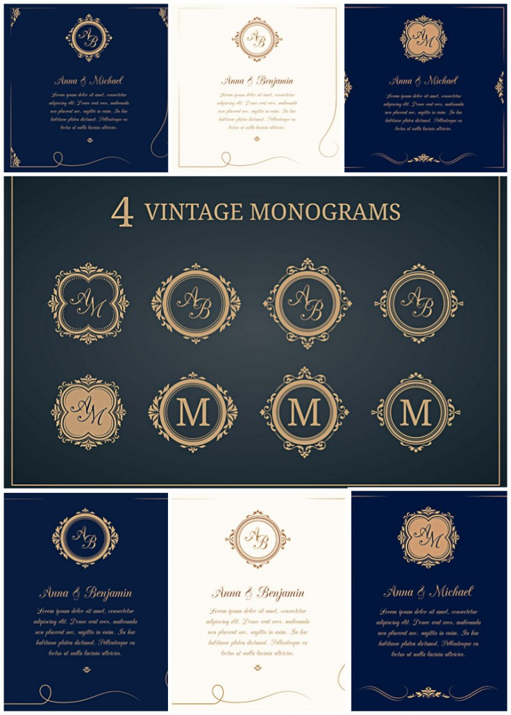 wedding invitations with monograms vector collection