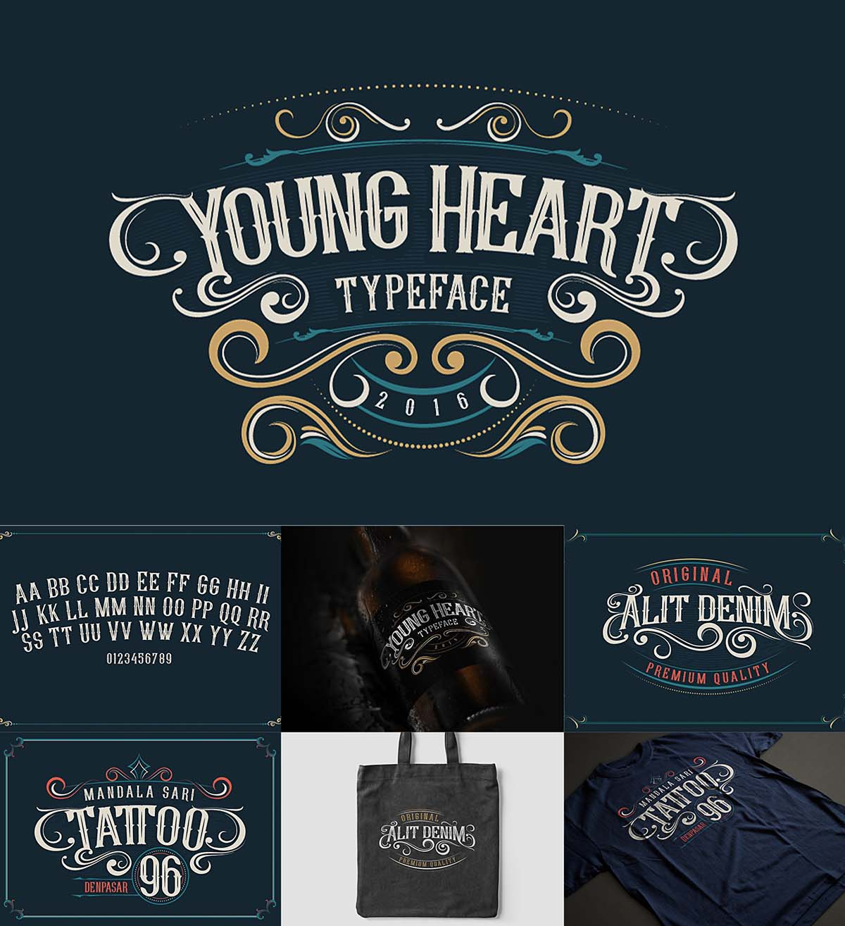 Young heart western style font