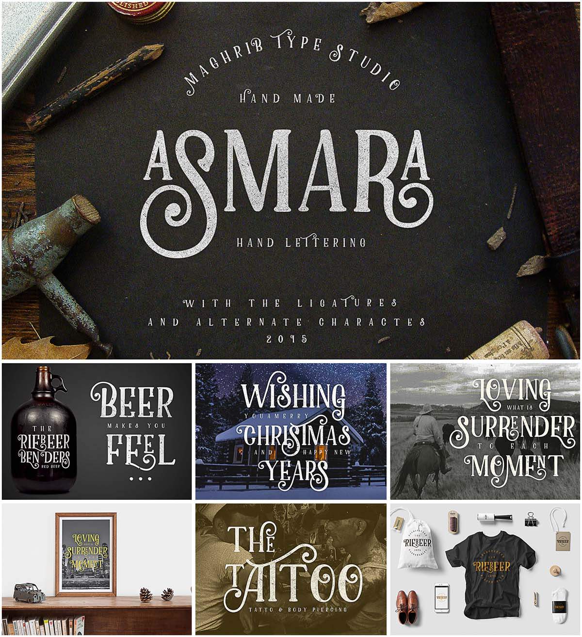 Asmara hand made decorative font