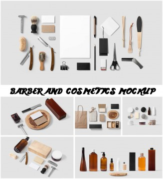 barber cosmetics retro mockup