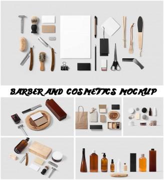 barber cosmetics retro mockup
