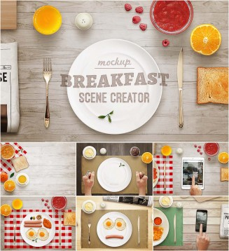 Breakfast mockup scene collection