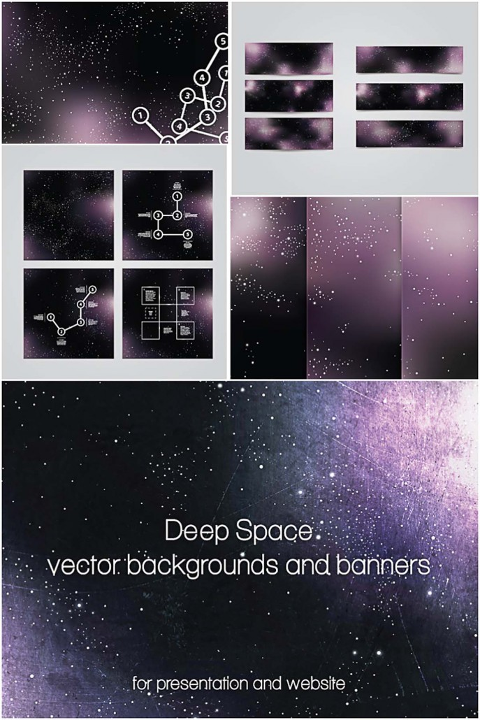 deep space banners and backgrounds set